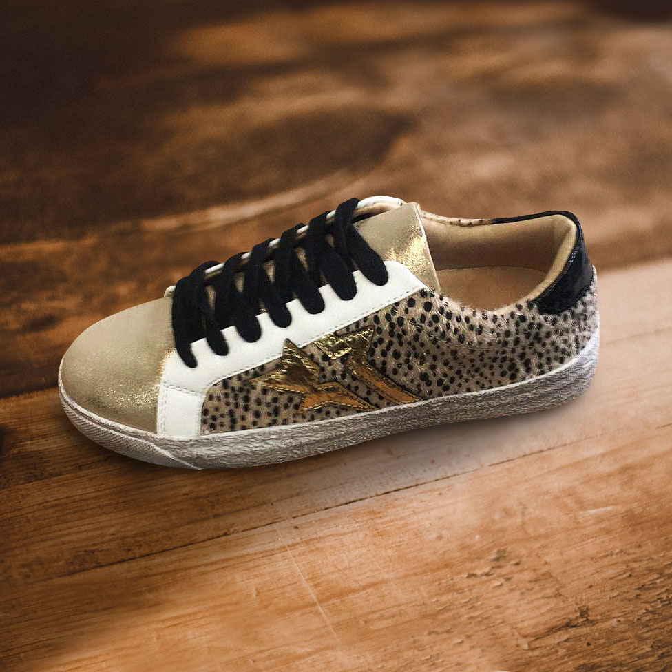 Leopard Print Trainers with Gold Star